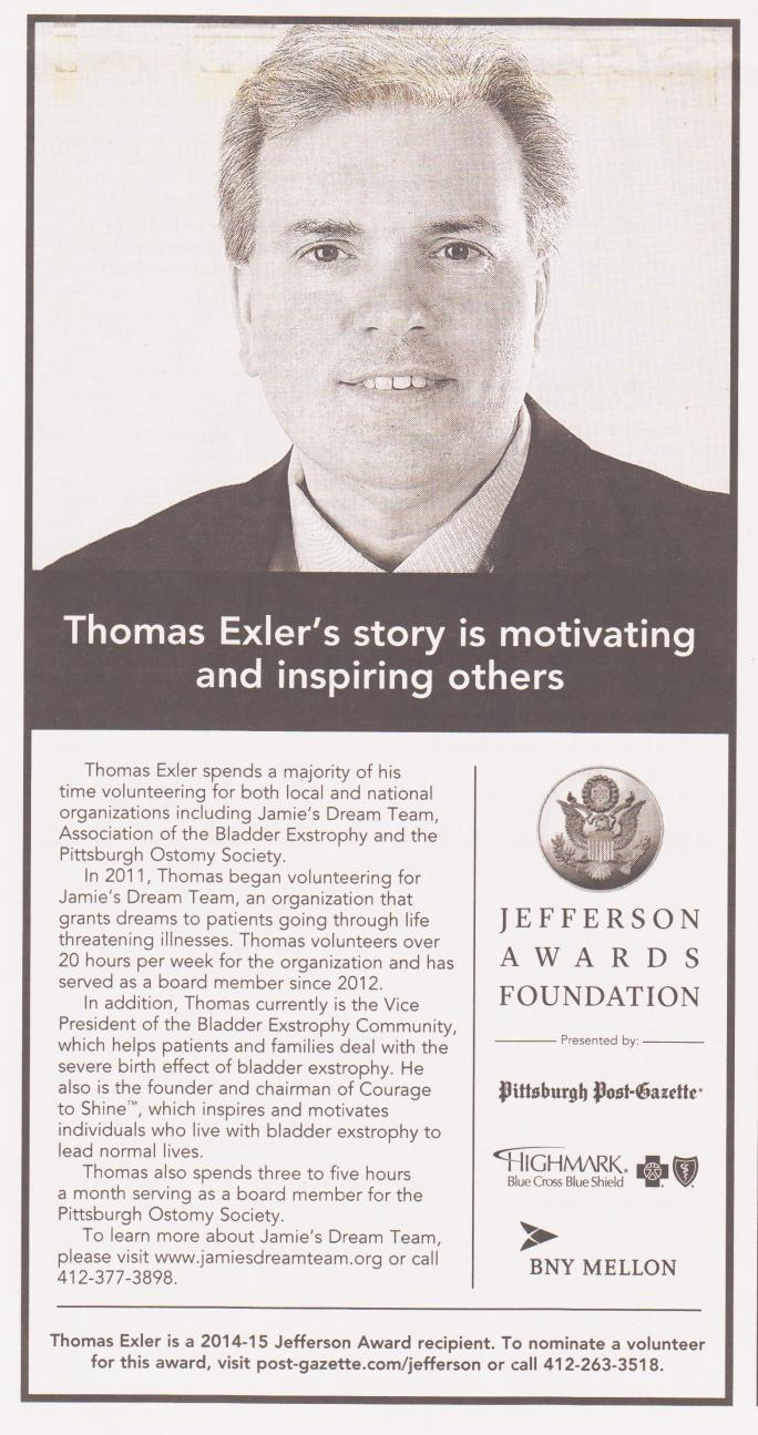 Jefferson Award - Pittsburgh Post-Gazzet - Feb 27 2015