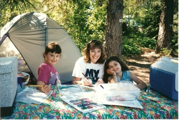 Jessica camping with Alice Ambrose