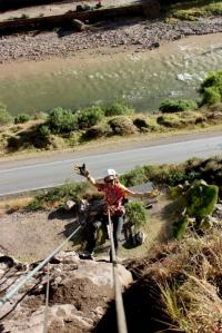 Rachel rock climbing in Peru
